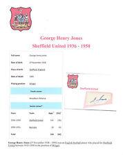 GEORGE HENRY JONES SHEFFIELD UNITED 1936-1950 RARE ORIG HAND SIGNED CUTTING/CARD