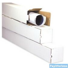 "5"" x 5"" x 37""  White Square Shipping Mailer Mailing Storage Boxes Tubes 50 Pc"