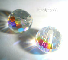 6x SWAROVSKI # 5003 CRYSTAL AB 8mm DISCO BALL ROUND CRYSTAL