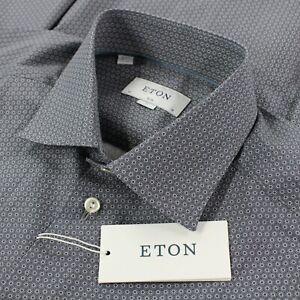 Eton NWT Dress Shirt Size 41 16 L Slim in Gray with White Geometric Pattern