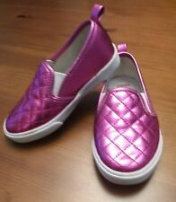 Gymboree Girls Size 9 Pink Shimmer Metallic Sneakers Loafer Slip On Tennis Shoes