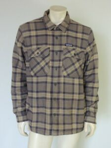 PATAGONIA Men's Insulated Fjord Flannel Jacket Grey Plaid Organic Size LARGE