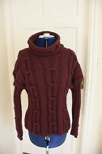 New Unusual Knot Cable Hand Knit Maroon waist length Jumper size 14-16 cowl neck