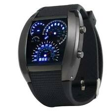 Digital Herrenuhr Armbanduhr LED Blau in Tacho Optik Binär Racing Car Watch