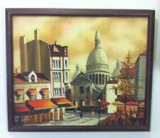 Vintage 1972 Paris oil painting canvas wall art city signed Roland Vernet origin