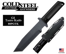 """Cold Steel 7"""" Fixed Blade Knife GI Tanto 1055 Carbon With Sheath 80PGTK"""