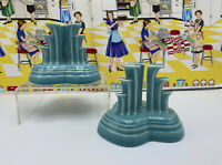 Set of Fiesta Ware Tripod Turquoise Candle Stick Holders Pyramid Fiestaware