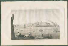 MALTA. Veduta di La Valletta. Tratta da Italie Pittoresque, anno 1836