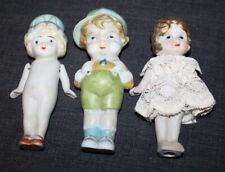 Three! Larger Bisque Dolls Japan Vintage