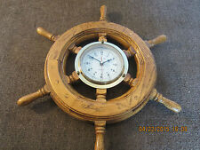 Nautical, Oak Ship'S Wheel, With Brass Clock