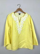 Talbots Yellow Striped Beaded Linen 3/4 Sleeve V-Neck Shirt Top Size Medium M