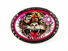 Small Tiger Pink Flower Belt Buckle By ED HARDY 33116