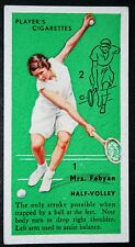 Vintage Women Tennis  Technique Tips  Fabyan  USA   Original  1930's Action Card
