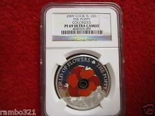 2009 Cook Island Is Poppy Flower In Cloisonne .999 Silver & Gold Coin NGC PF 69