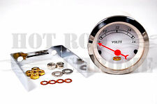 2 1/16'' Classic Voltmeter Gauge 8-16V White Face Plate Hot Rod Racing
