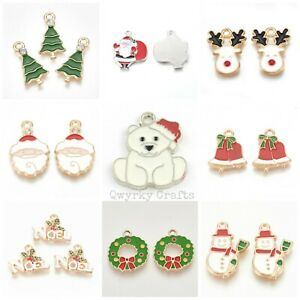 Christmas theme enamel painted charms pendants jewellery making Xmas colour ENAM