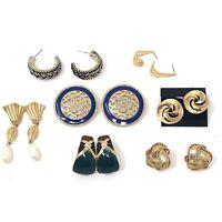 Vintage Goldtone Pierced Earrings Lot of 7 Pair Signed Napier Filigree Enamel