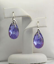 925 Silver Earrings made with Swarovski Crystals 22mm PEAR - Tanzanite AB