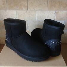 UGG Mini Studded Bling Metal Rivet Black Suede Sheepskin Boots Size US 9 Womens