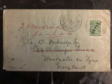 1910 Shanghai China Russian Post Office Cover To New Castle England