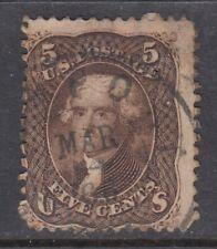 USA CDS Cancel Scott #76  5 cent Jefferson brown   F