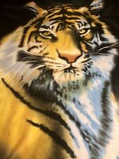 "Large Tiger Fleece Blanket Throw Polyester Black 65""X48"" King of the Jungle"