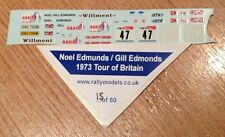 1/43 decals Trofeu Ford Escort Mk1 Noel Edmunds '74 Tour Of Britain Rally Code 3