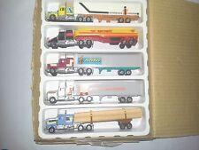 Set of 5 Vintage Die Cast Semi Trucks Interstate Sys Shell Navajo GA Hey Express