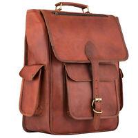 """Leather backpack bag 17"""" Laptop rucksack college school shoulder travel handbag"""