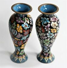 Cloisonné vases with flower decoration