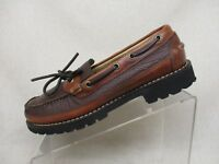 LL Bean Brown Leather Lace Up Up Moc Toe Comfort Casual Boots Loafers Size 8 D