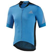 Men's Adidas Supernova Short Sleeve Cycling Jersey Top Blue D84212 New