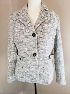 Talbots Gray, White, and Silver Tweed Blazer Size 8p Petite
