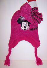 Disney MINNIE MOUSE Pink Sparkly HAT BEANIE Cap & GLOVES Glove SET Braids NEW!!
