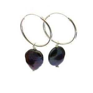 Hoop Earrings with Coin Pearls Sterling Silver Hoops Black Freshwater Pearls