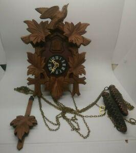 Vintage German Black Forest Carved Birds Quail Cuckoo Clock