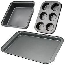 3 pcs Non Stick Cupcake Cake Baking Tray Set Oven Roasting Sheet Muffin Pan Tin