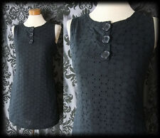 Gothic Black Cotton Lace PENITENCE 60's Style Buttoned Mod Dress 8 10 Lolita