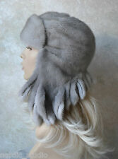 Russian GENUINE MINK real FUR HAT with EARS by Anna Voloshko , Grey, 21.5""