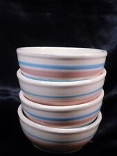 "McCoy Pottery 5"" Pink Blue Stripe Cereal Bowl's #7016 Set of 4"