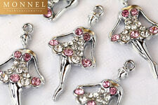 M5 Cute Crystal Ballet Dancer Ballerina Charm Pendant Wholesale (10 pcs)