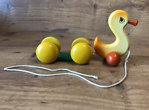 Rare Wooden Pull Toy GREEK KOUVALIAS - Duck - VINTAGE with Wear