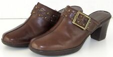 Womens Clarks Shoes 8.5 M Brown Mules Clogs Leather Brass Buckle Bendables