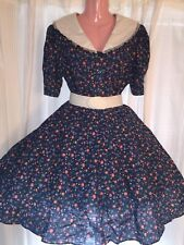 Square Dance Blue Flower Top & Skirt-Small/ Medium