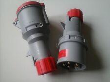 32amp lewden 5 pin plug & coupler socket IP44 rated 3 phase 415V 3P+N+E (AA)