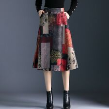 Office Lady Skirt Faux Wool Midi Dress Women Retro Patchwork A Line Winter Wear