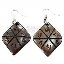 Pair Tibetan Carved Om Mani Padme Hum Diamond Shaped Yak Bone Amulet Earrings