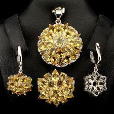 Sterling silver 925 Golden Citrine Pendant, Earring & Ring Set Sz P1/2 US 8