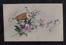 C1916 French plastic card - Soldiers hat & flowers 'To greet you'