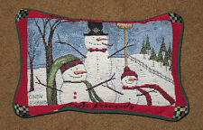 Winter Fun Snowman ~ Snowmen Tapestry Word PIllow ~ Artist, Susan Winget